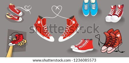 Set of different sneakers. Hand-drawn red and blue shoe, line art, cartoon shoes and a pair of realistic sneakers. Vector converse and heart-shaped laces for training. Graphic isolated objects