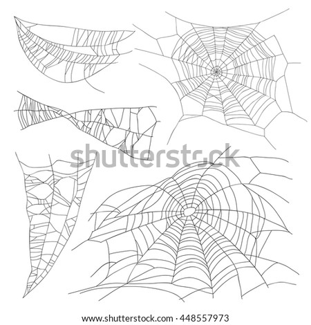 Set of different spiderwebs on a white background. Vector illustration. Elements for design.