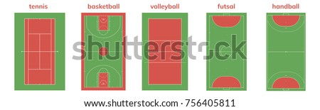 set of different sport field