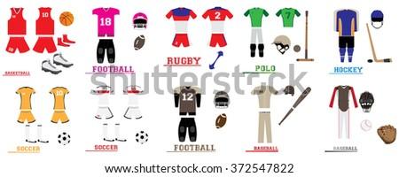 set of different sport uniforms