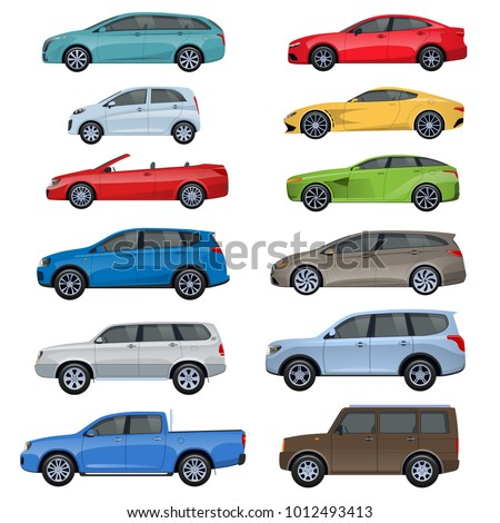 Set of different sports, passenger, off-road vehicles, passengers cars, different types: sedan, jeep, hatchback. Racing, trip around city, travel Passenger car side view Vector illustration