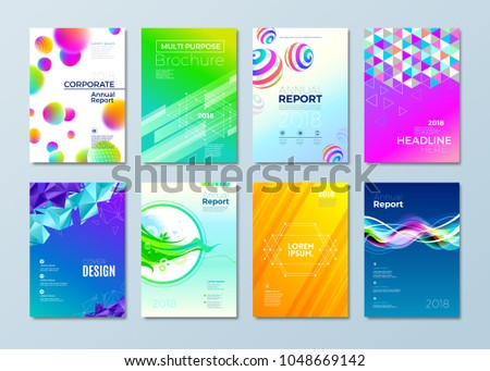 Set of different style design template for cover, magazines, brochure, flyer, annuar report, corporate or business identity. Vector illustration.