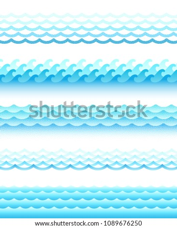 Set of different style water waves. Vector illustration.