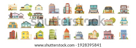 Set of different styles residential and city houses. City architecture retro and modern buildings. House front cartoon illustrations. Store building and Houses exterior collection.