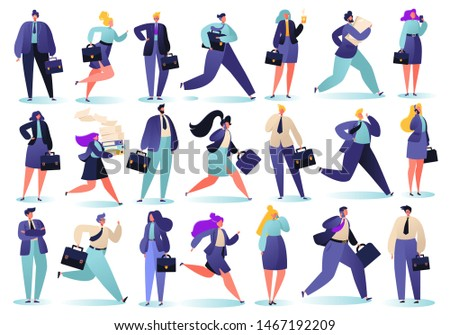 Set of different, successful businessmen running on business, solving telephone issues, carrying important papers with diplomats and briefcases. Career, business, reach goal success and finance theme.