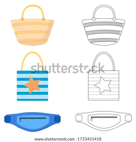 Set of different summer bags, shopping tote bag, straw bag, bum bag. Summer bags vector illustration on white background
