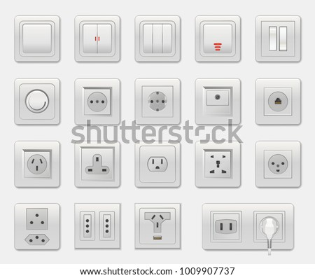 Set of different switches vector illustration isolated on white backdrop, varied connectors and selectors, usb and ethernet port, one socket plug