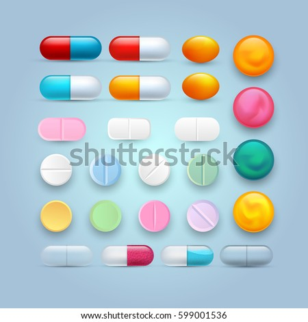 Set of different tablets, capsules, and pills. Colorful vector medical icons