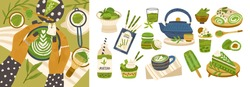 Set of different tasty matcha food vector flat illustration. Collection of cartoon healthy delicious and drink isolated on white. Female hands enjoying latte beverage and dessert. Organic meal