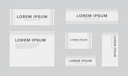 Set of different textile tags. Collection of narrow, wide, large, small, vertical, horizontal labels for clothes. Vector white sticker with place for text.