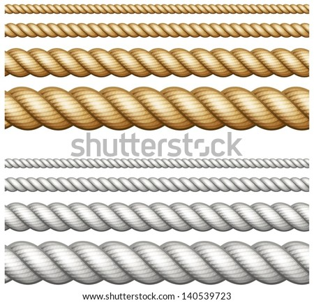 Shutterstock Set of different thickness ropes isolated on white, vector illustration.