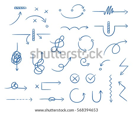 Set of different thin curved and tangled arrows for work flow charts, video clips or info graphics. Hand drawn doodle cartoon vector illustration.