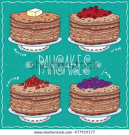 set of different thin pancakes