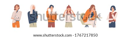 Set of different thoughtful people vector illustration. Collection of various man and woman thinking or making decision isolated on white. Colorful pensive person sit on table, touching head or chin