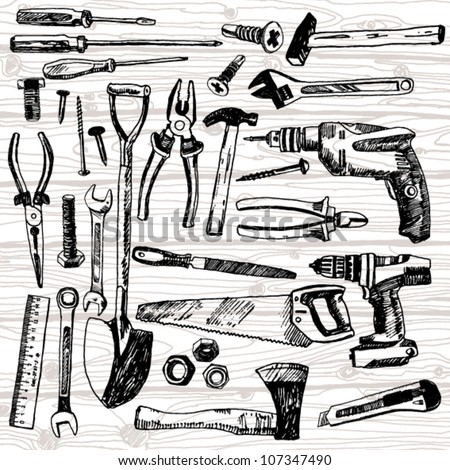 Set of Different Tools Hand Drawn