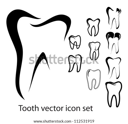 set of 10 different tooth