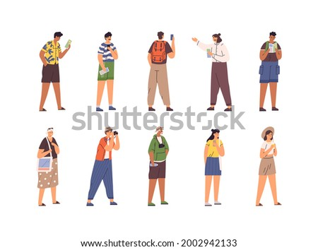 Set of different tourists and guide during excursion. People traveling and sightseeing. Men and women on summer holidays. Flat vector illustration of visitors with cameras and maps isolated on white Foto stock ©