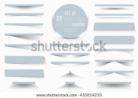 Set of different transparent realistic shadow effects isolated on transparent background, for your modern design.