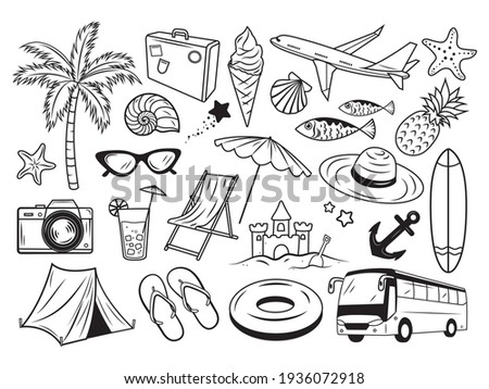 set of different travel
