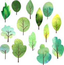 set of different trees painted by watercolor, vector illustration