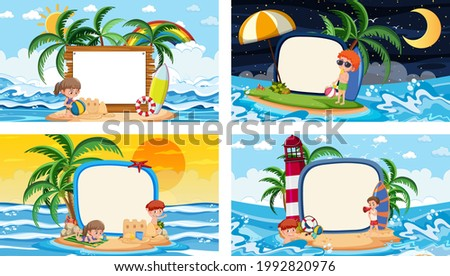 Set of different tropical beach scenes with blank banner illustration