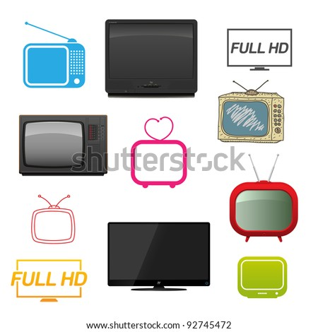 Set of different tv. Vector illustration.
