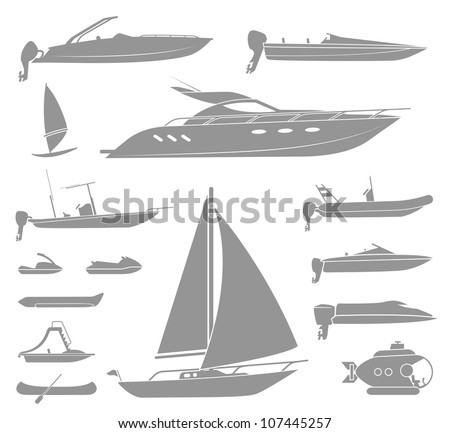 set of different  types of boat
