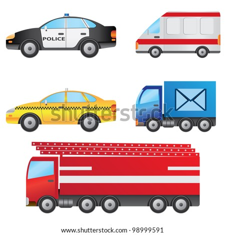 Set of different types of cars including police car, ambulance, taxi, post van and fire truck.