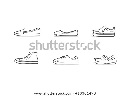 stock-vector-set-of-different-types-of-footwear-six-icons-kinds-of-shoes-outline-black-and-white-signs