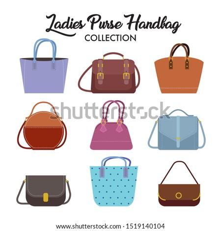 Set of different types of ladies handbag and shoulder bag.