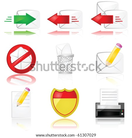 Set of different vector glossy icons related to mail and communication