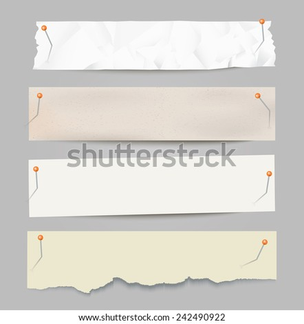Set of different vector paper stripes with pins.
