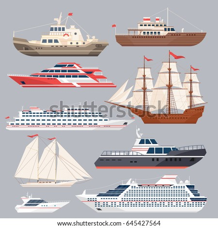 set of different vessels sea