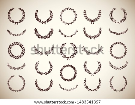 Set of different vintage silhouette circular laurel foliate and olive wreaths depicting an award, achievement, heraldry, nobility, emblem. Vector illustration.