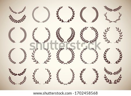 Set of different vintage silhouette laurel foliate, olive, and wheat wreaths depicting an award, achievement, heraldry, nobility, emblem, logo, border. Vector illustration.