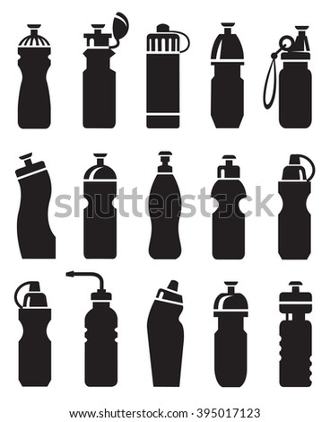 set of different water bottles