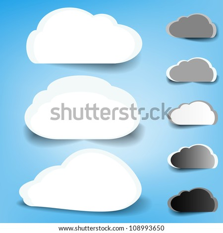 Set of different weather sky clouds