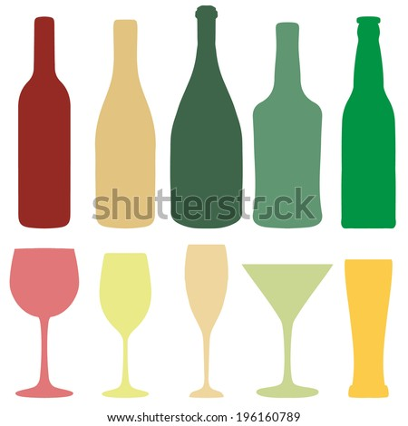 Set of different wine, champagne and beer bottles and glasses silhouettes. Vector illustration in pastel colors  for your design
