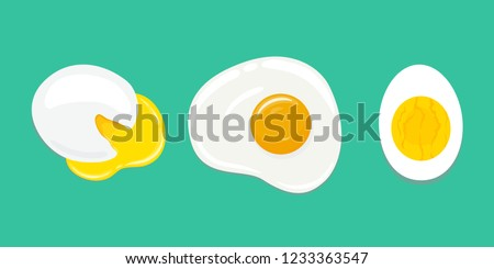 Set of differently cooked eggs. Poached egg, fried egg, hard boiled egg. Fresh delicious cooked eggs. Yummy breakfast. Vector hand drawn illustration.