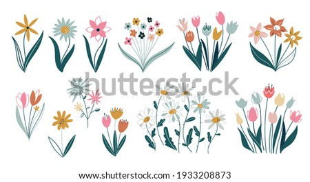 Set of differents flowers on white background. Сollection with roses, leaves, floral bouquets, flower compositions. Set of floral branch. Flower pink rose, green leaves. Spring flowers.