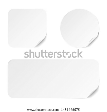 Set of diffrent paper adhesive stickers with realistic textures isolated on white background. Blank templates for any purpose. Vector illustration.