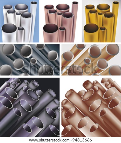set of difrent colors pipes