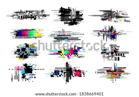 Set of digital decay elements. Geometric glitch, colored abstract art tv noise effect. Retro pixel texture, broken distorted video elements. Vector illustration. Isolated on white background. stock photo