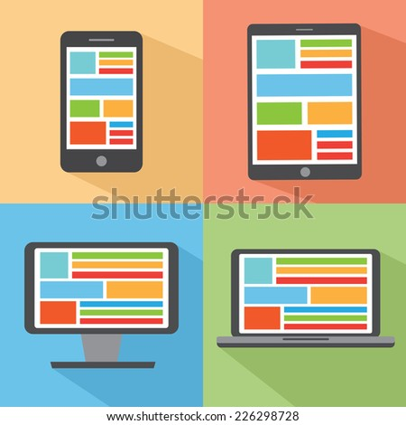 Set of digital devices with long shadow - Tablet, smart phone, laptop and monitor