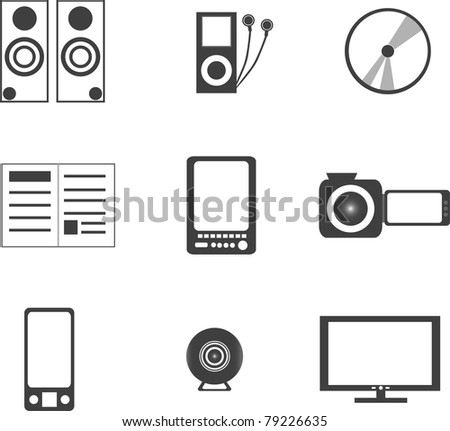 set of digital media electronics equipment. vector