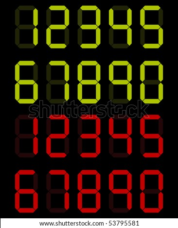 set of digital numbers in green and red colors