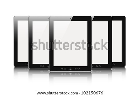 Set of digital touch screen devices with blank screen isolated on white.