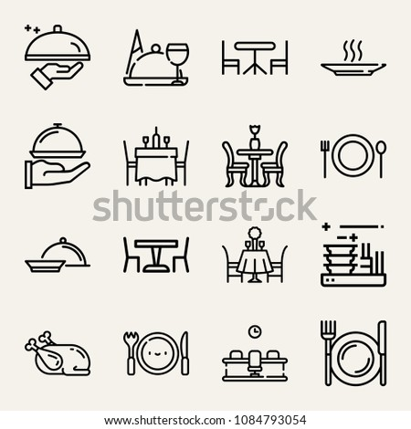 Set of 16 dinner outline icons such as cutlery, meal, food, dinner, dishes, dish, romantic date, table, hot soup, serve, chicken, dinner table, meeting room