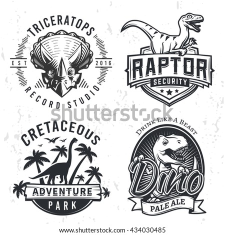 set of dino logos raptor t