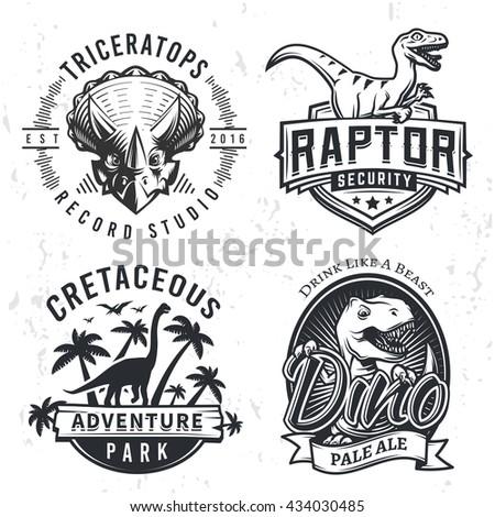 set of dino logos raptor t